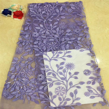 VILLIEA Embroidery Lace Fabrics In Purple, High Quality Flower Lace Fabric For Dress, Nigeria Tulle Lace Fabric For Wedding