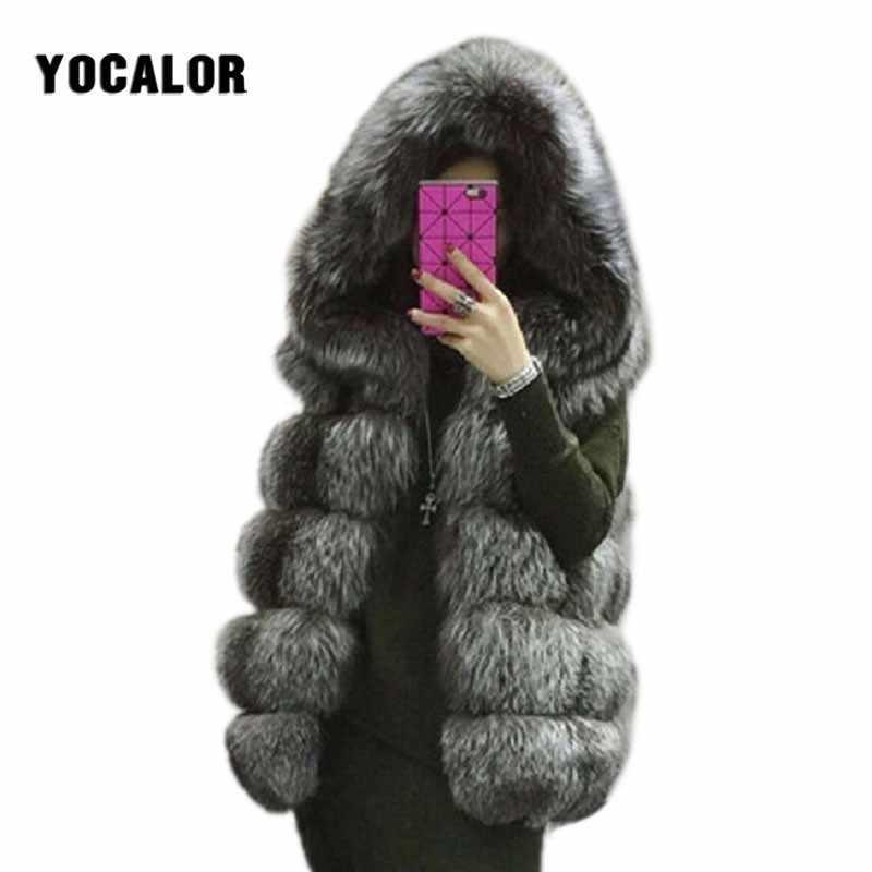 Abrigos de piel de visón de zorro de imitación de talla grande 2018 para abrigo de invierno para mujer gafas cortas chaqueta de Otoño de conejo falso sombrero