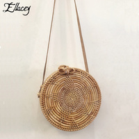 2018 Summer Round Handmade Rattan Bag Indonesia Bali Vietnam Messenger Straw Bag Weaving Shoulder Crossbody Knitting