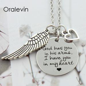 GOD HAS YOU IN HIS ARMS I HAVE YOU IN MY HEART Engraved Pendant Charms Miscarriage Memorial Necklace Jewelry 10Pcs/Lot, #LN285(China)