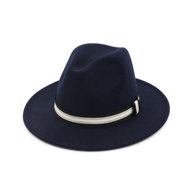 27f2d1fdd1465 Wool Boater Flat Top Hat For Men s Women Winter Hat Felt Fedora Wide Brim  Hat Gentleman Black White Braid Gambler Hat MNDJS061