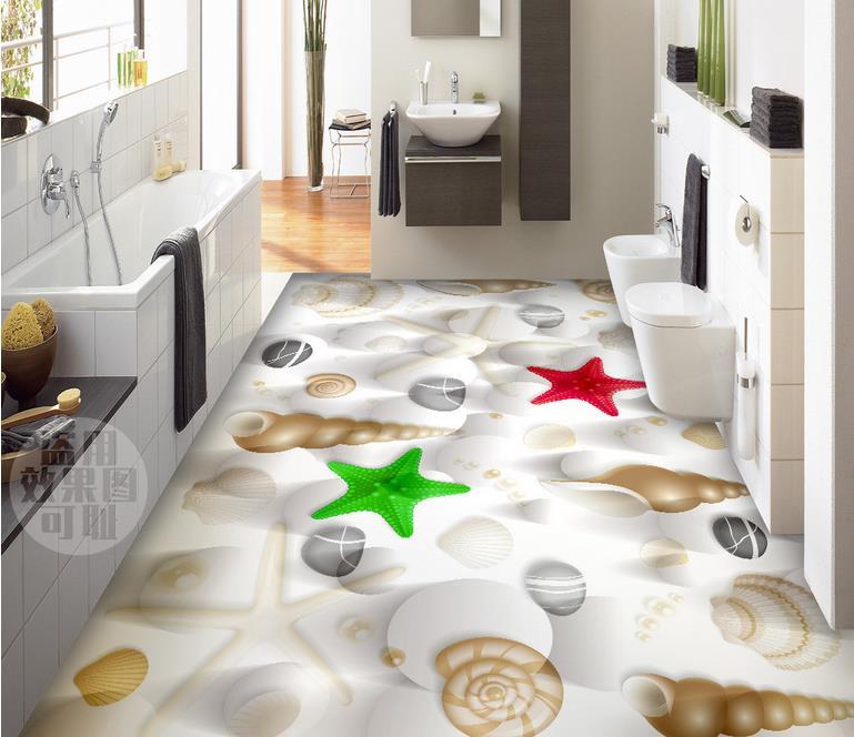 ФОТО custom 3d floor murals pvc self adhesive wallpaper Shells starfish 3d floor tiles for bathrooms wallpaper 3d tiles