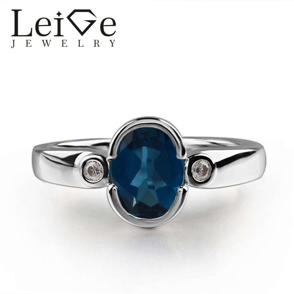 925 argent topaze bleu londres anneau ovale coupe bleue pierre gemme réglage des bagues de promesse pour les femmes cadeaux romantiques