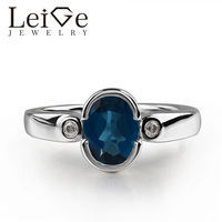 925 Silver London Blue Topaz Ring Oval Cut Blue Gemstone Bezel Setting Promise Rings for Women Romantic gifts