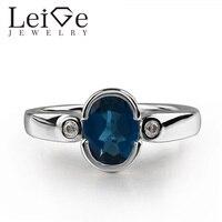 925 Silver London Blue Topaz Ring Oval Cut Blue Gemstone Bezel Setting Promise Rings for Women Romantic gifts