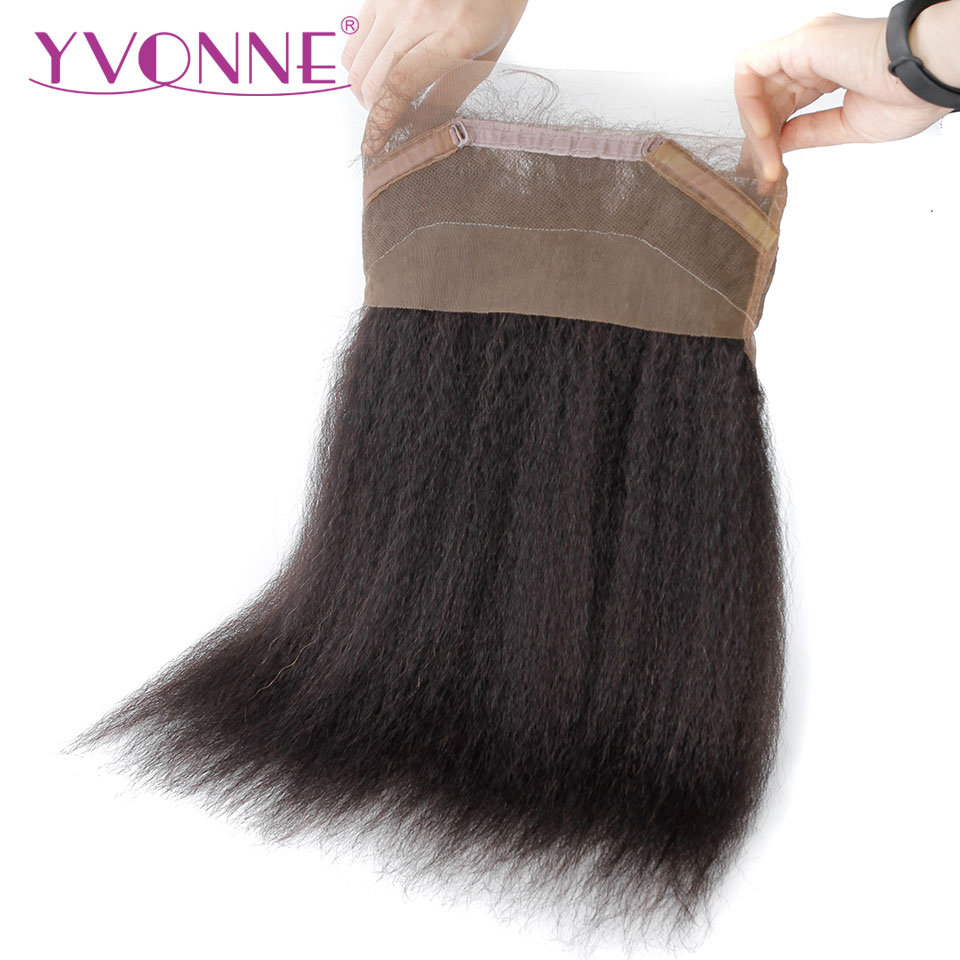 YVONNE 360 Lace Frontal Brazilian Kinky Straight Virgin Hair Natural Color 100% Human Hair With Adjustment