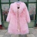 Высочайшее качество всей овчины ягненка шубу для женщин, мода огромный воротником теплый реальная Монголии овец мех длинный жакет пальто