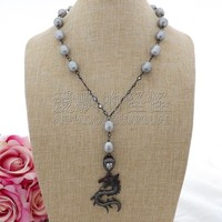 N093002 20 Gray Rice Pearl Cz Chain Necklace Dragon Pendant