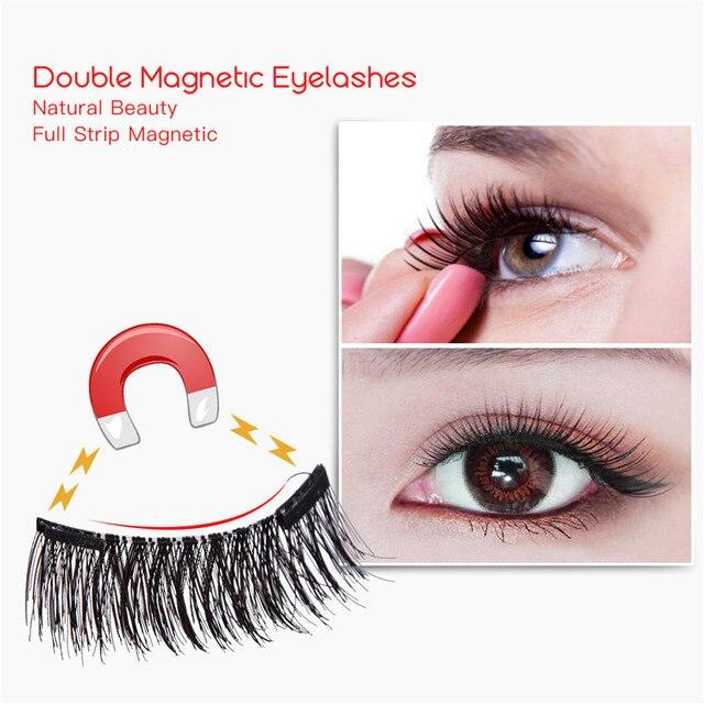 Двойной магнит 3D Магнитный ненастоящий ресницы на магнитах Поддельные ресницы, для глаз ресницы наращивание ресниц черные мягкие волосы многоразовые с коробкой 41