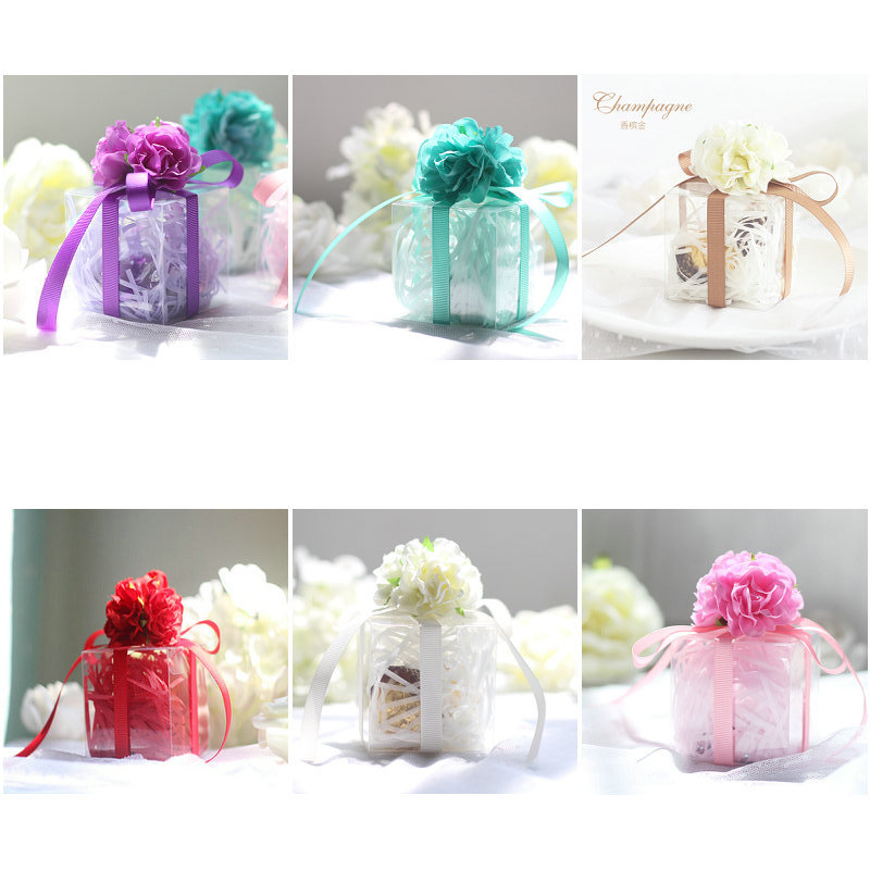 Romantic Candy Boxes with Transparent Silk Flower Plastic Candy ...