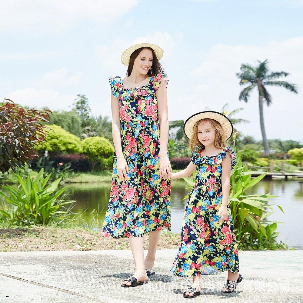 ZOGAA 2019 sangle cassé fleur robe en été hors épaule genou robe mère et fille vêtements bébé fille vêtements