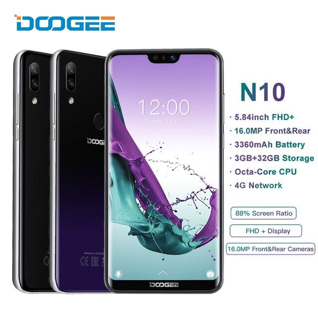 "DOOGEE N10 هاتف محمول أندرويد 8.1 3GB RAM 32GB ROM ثماني النواة 5.84 ""FHD 19:9 عرض 16 mp الوجه إفتح الهاتف الذكي 3360mAh 4G LTE"