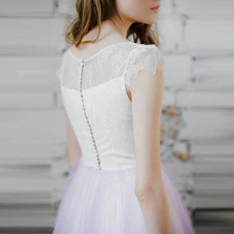 Praia Vestidos De Noiva Branco E Lilás 2018 Robe de Mariage Vestido de Noiva da Luva do Tampão Vestido De Noiva UMA Linha de Casamento Barato vestido