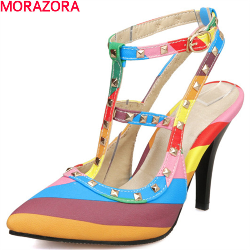 MORAZORA new fashion pu leather shoes woman high heels wedding shoes Multicolor color summer pointed toe sexy ladies shoes morazora new arrive woman pumps spring summer sweet bowknot fashion splice color sexy thin heels pointed toe buckle shoes woman