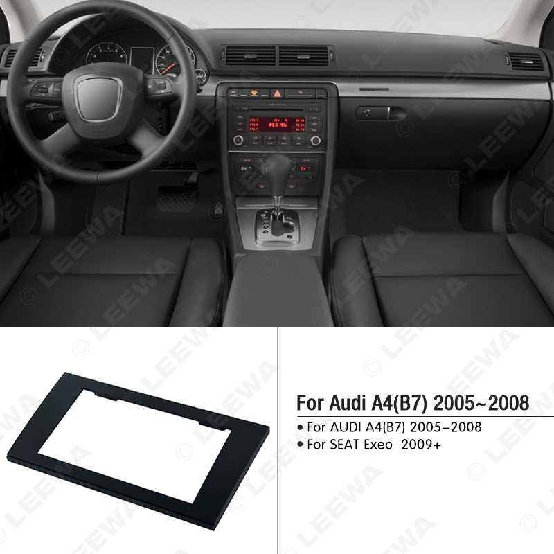 LEEWA DOPPIO DIN Car Radio Fascia per AUDI A4(B6)02-06,A4 (B7)02-07/SEAT Exeo 2009 + Stereo Fascia Dash CD Trim Kit di Installazione