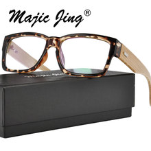 Plastic High quality rectangle optical frame eyeglasses with bamboo temple in stock(A6823)