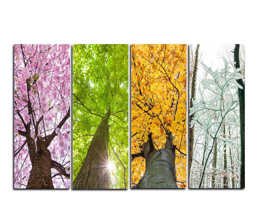 4 Panels Canvas Print 4 Seasons Trees Painting For Living