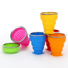 6 Colors Silicone Folding Cup 200ml Retractable Collapsible Cup Portable Outdoor Sport Travel Coffee Cup Foldable Water Cups цена