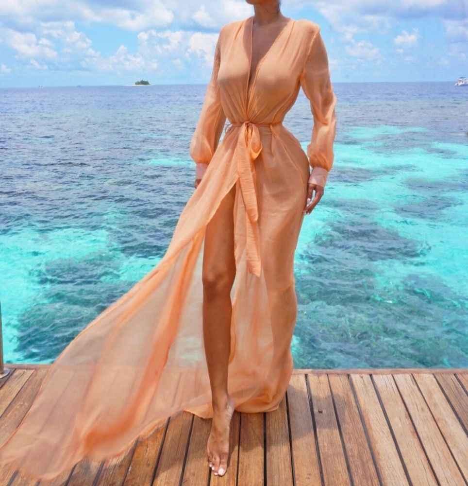 Лидер продаж Для женщин Пляж Cover Up Kaftan шифон саронг Лето Wea бикини Летний Пляж Boho Длинные шифон пальто-кардиган