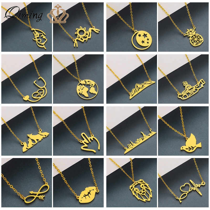 Gold Chain Statement Necklace For Women Boho Stainless Steel Jewelry Sunrise Globe World Map Charm Best Friends Necklaces Gift