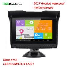 Nueva Llegada!! sistema Andriod 5 Pulgadas 8 GB Impermeable HD 800×480 Motocicleta 512RAM GPS Bluetooth WIFI mapas Libres + envío libre