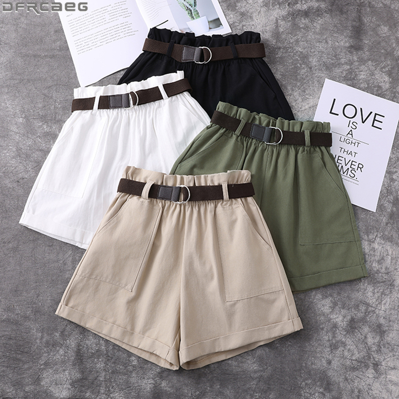 Fashion Harajuku Plus Size Shorts For Women Summer Elastic High Waist Short Femme Cuffs Wide Leg With Belt Cotton Ladies Shorts