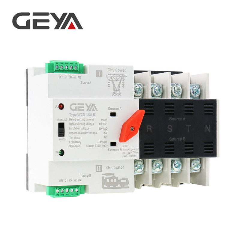 Free Shipping GEYA Din Rail 4P ATS Electric Switch Manual Transfer Switch 220V Coil Max 100A