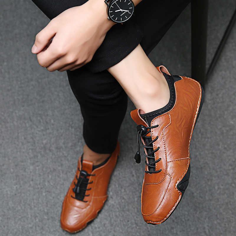 2019 Moda Ahtapot Erkekler rahat ayakkabılar Yumuşak deri erkek ayakkabısı dantel-up Nefes Yumuşak Beyaz Sneakers Casual Flats Erkekler Mokasen