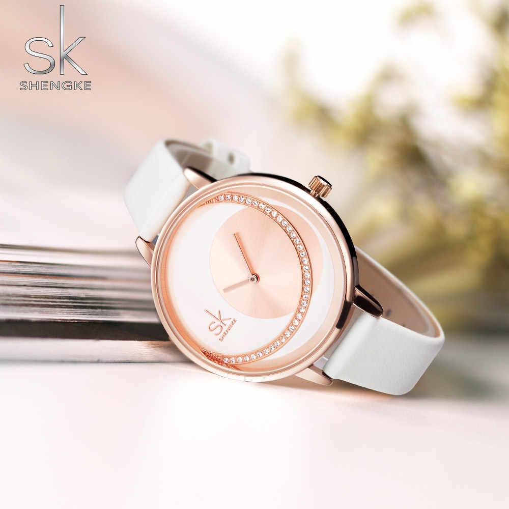 Shengke Top ยี่ห้อ Luxury นาฬิกาข้อมือสตรีคริสตัล SK นาฬิกาผู้หญิงนาฬิกาแฟชั่นนาฬิกาสุภาพสตรีนาฬิกาหนังนาฬิกา Reloj Mujer