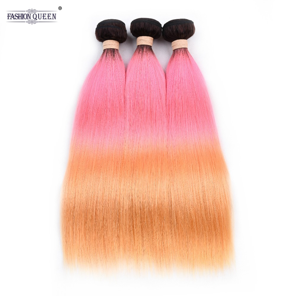 Ombre Brazilian Hair Weave Bundles Colored 1b Pink Orange Straight Hair Bundles 3 PCS 100 Huma