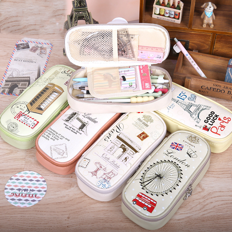 1 Pcs New Creative School Pencil Case Eiffel Tower Pen Bag Kawaii Girls Boys Large Pencil Case Penalty Pouches Box цена
