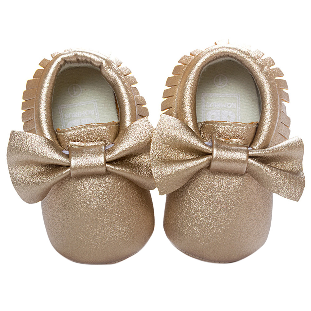 ABWE Best Sale ROMIRUS Leather Newborn Baby Boy Girl Baby Moccasins Soft Moccs Shoes Fringe Soft Soled Non-slip Footwear Gold
