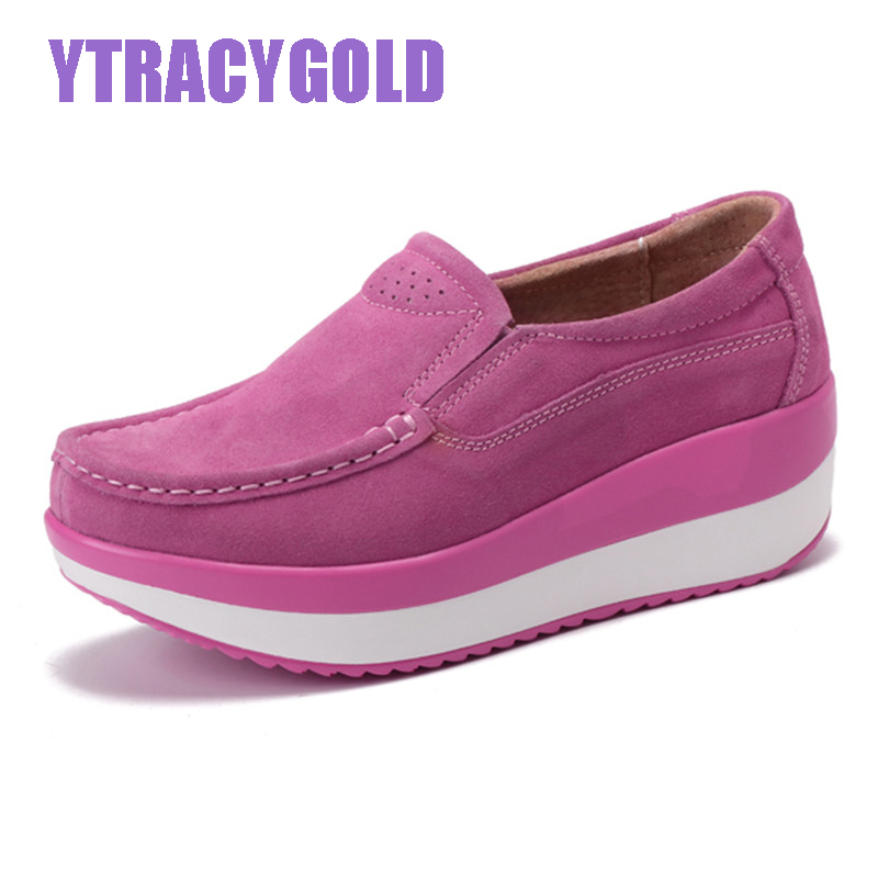 YTracyGold Spring Women Flats Platform Loafers Shoes Female Suede Leather Casual Shoes Slip on Flats Elegant Moccasins Creerper