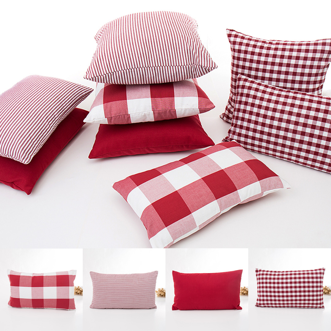 Stupendous Us 3 49 30 Off Stripe Plaid Printed Pillow Cover White Red Throw Pillow Case Rectangle Cushion Cover For Sofa Home Hotel Decoration Pillowcase In Theyellowbook Wood Chair Design Ideas Theyellowbookinfo