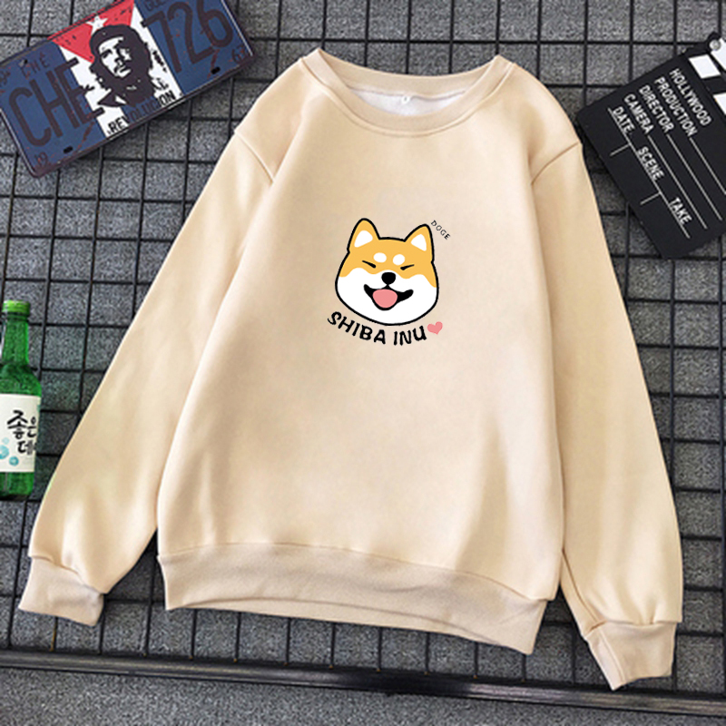 Winter Womens Harajuku Kawaii Shiba Inu Pattern Print Sweatshirt Casual O-neck Clothes Kpop Cotton Pullover Sweatwear 16 Colors