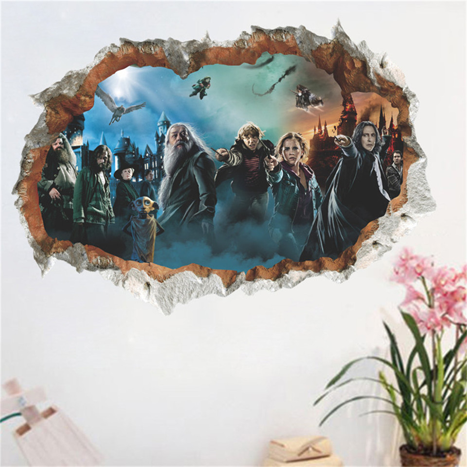 Harry-Potter Movie 3D Poster Hogwarts Wall Paper For Baby Bedroom Magic World Decal Kids Gift Home Decoration Wall Sticker Mural