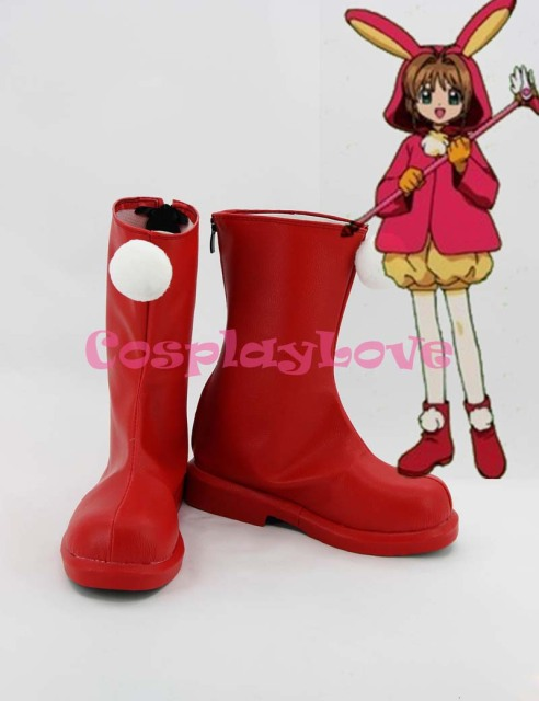 SAKURA KINOMOTO Cosplay Shoes Boots Custom Made Red 1