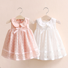 2019 Summer New 2-10 Years Children's Party Prom Cute Peter Pan Collar Pink White Tank Lace Bow Layered Dresses For Kids Girls cute short pink and white flower girl dresses peter pan collar knee length baby girls summer dress 1st birthday outfit with bow
