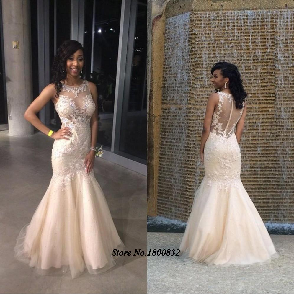 Elegant African Prom Dresses for Teens Mermaid Lace Illusion Neck ...