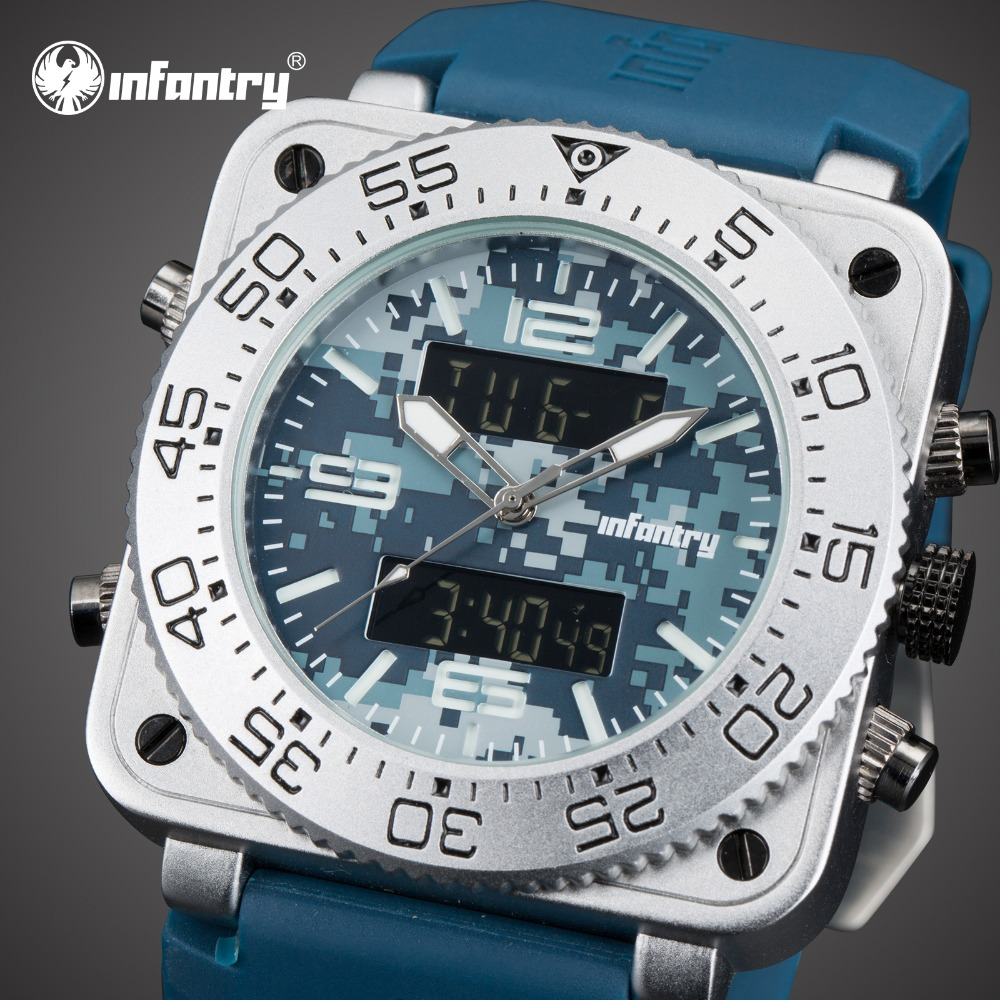INFANTRY Mens Watches Top Brand Luxury Analog Digital Military Watch Men Chronograph Square Big Watch for Men Relogio Masculino infantry mens watches top brand luxury chronograph military watch men luminous analog digital watches for men relogio masculino