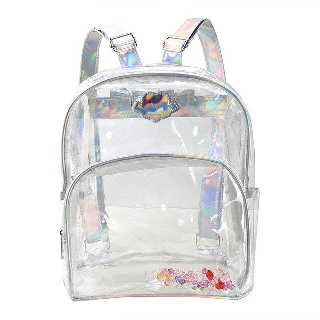 c40b82c14 Nova Transparente Holográfico Mochila Mulheres sacos de Escola Para  Adolescentes Meninas Moda Mochila De Viagem Mochila