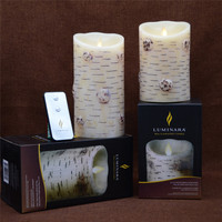 Flameless Moving Wick Wave Top Birch Bark Electric Wax Candle Amazing Amber Light With Timer 3