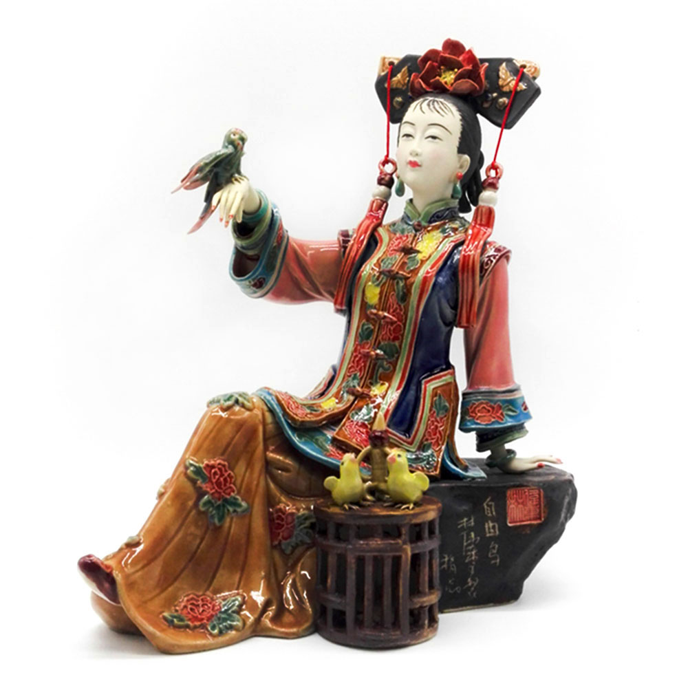 Antique Chinese Lady Ceramic Statue Pure Manual Figure Craft Collectible Porcelain Figurine Painted Vintage Home Decor figurine