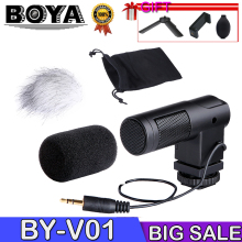 BOYA BY-V01 Stereo Microphone X/Y Mini Camera Condenser Microphone for Digital DSLR Canon Nikon Pentax Sony Camera DV mcoplus 130 led video light photography lamp for canon nikon sony pentax panasonic samsung olympus dv camera camcorder vs cn 126