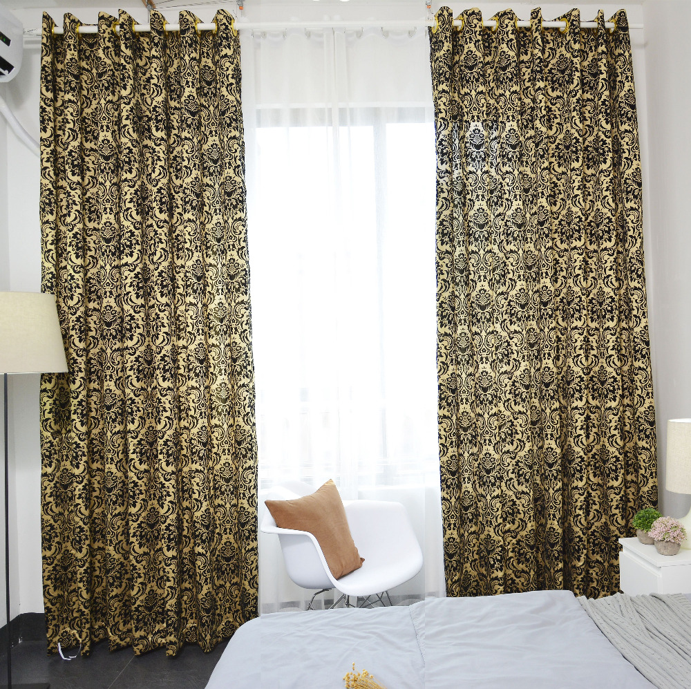 aliexpresscom buy latest luxury golden flocked curtain for living room cortinas in bedding room window curtain salon home decor accessories from reliable - Cortinas Salon