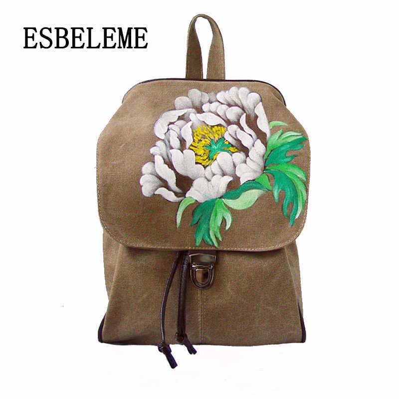 2019 для женщин Китай Национальный стиль тканевый женский рюкзак хаки черные цветы живопись дамы цветочный школьный обувь для девочек backbag YI390