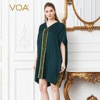 VOA шелк Для женщин топы Повседневное Футболка свободная футболка летний пуловер Boho печати с v образным вырезом рукав «летучая мышь» оборкам