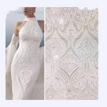 Hot Sale french lace african sequins fabric white high quality tulle Ivory voile in switzerland