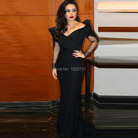 2019 arabic New Sexy Black Evening Dresses Off The Shoulder Long Sleeve Formal Robe De Soiree Party Gown from Dubai