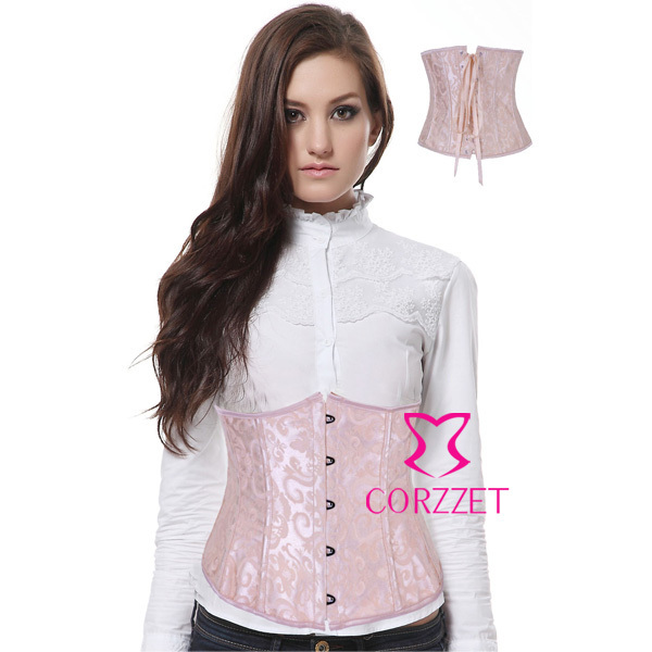 Corzzet  Plus Szie Underbust Corset Waist slimming Cincher Steel Boned Sexy Jacquard Bustiers Top Slimming Body Korsett